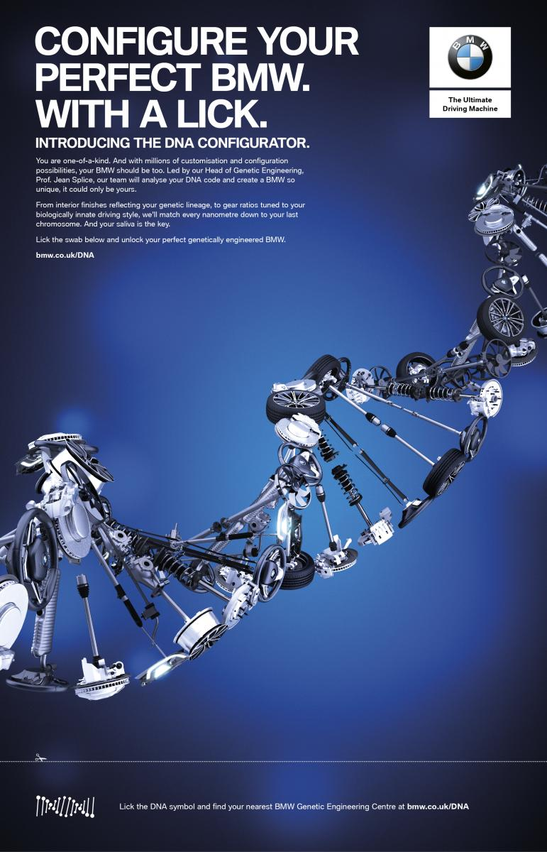 Ad of the day bmw launches world first dna configurator which each customers dna will be analysed thoroughly to provide a detailed human specification that bmws team of genetic engineers can use as a blueprint from malvernweather Choice Image