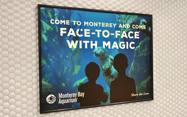 "Monterey Bay Aquarium takes over the entire Bart station with its ""Share the Love"" campaign by Oakland-based agency EVB"