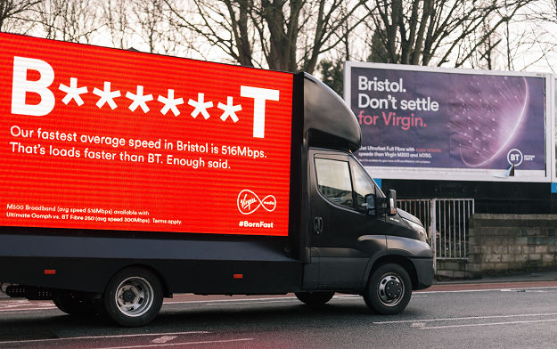"""Virgin Media responds to BT ad with – """"B*** ***T""""!"""